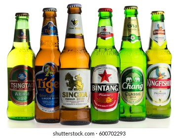 GRONINGEN, NETHERLANDS - MARCH 14, 2017: Selection of asian lager beers isolated on a white background