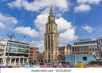GRONINGEN, NETHERLANDS - MARCH 14, 2020: Central market square and Martini tower in Gronignen, Netherlands