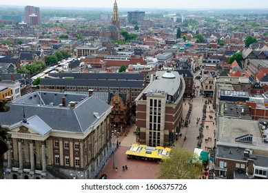 Groningen, Netherlands - May 20, 2019 - View over Groningen with  neoclassical Korenbeurs in the front seen from the Martinitoren (Martini Tower)