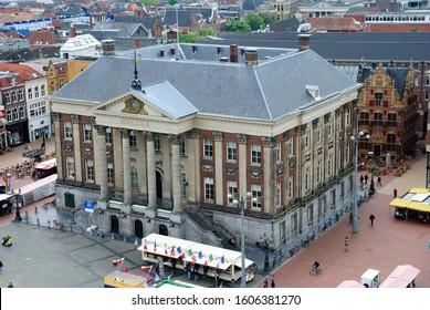 Groningen, Netherlands - May 20, 2019 - Neoclassical building of Korenbeurs seen from the Martinitoren (Martini Tower) in Groningen