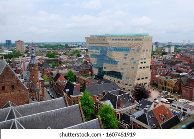 Groningen, Netherlands - May 20, 2019 - View over Groningen with the Forum Building in the center as seen from the Martinitoren (Martini Tower)