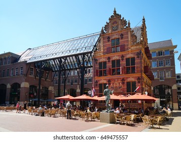 Groningen, Netherlands - May 27, 2017: Historic Goudkantoor (dutch for gold office) building and modern Waagstraat complex.