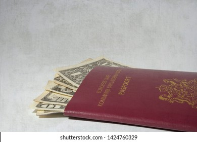 GRONINGEN, THE NETHERLANDS- NOV 5, 2007: Dutch red passport with dollar bills of one, ten and twenty inside