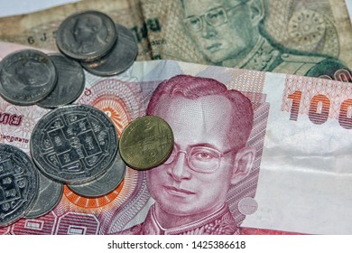 GRONINGEN, THE NETHERLANDS- NOV 5, 2007: Thai currency (baht) in bills and coins