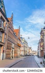 GRONINGEN, NETHERLANDS - NOVEMBER 18, 2018: Street with old buildings in the historic city Groningen, Netherlands