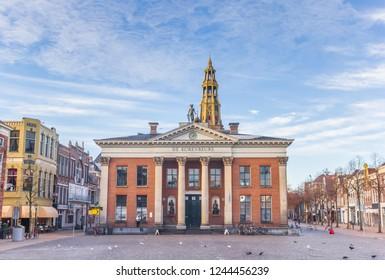 GRONINGEN, NETHERLANDS - NOVEMBER 18, 2018: Grain exchange building at the fish market square in Groningen, Netherlands
