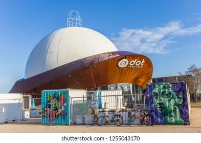 GRONINGEN, NETHERLANDS - NOVEMBER 18, 2018: Modern cafe and movie theater Dot in Groningen, Netherlands