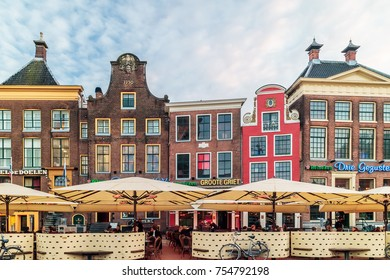 GRONINGEN, THE NETHERLANDS - NOVEMBER 2, 2017: Pubs and restaurants on the famous central square Grote Markt in Groningen, The Netherlands