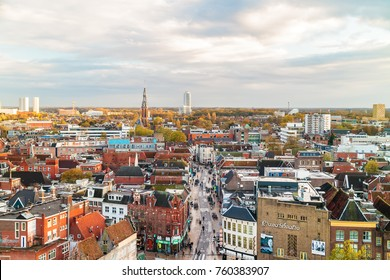 GRONINGEN, THE NETHERLANDS - NOVEMBER 2, 2017: Aerial view of the Oosterstraat shopping street with shops and stores in Groningen, The Netherlands