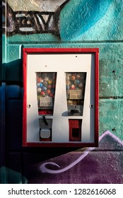 Groningen, The Netherlands - November 2018: Candy machine on the wall in Groningen, Holland