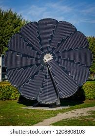 groningen, NETHERLANDS - October 14, 2018: circel solar collector at the Campus in Groningen