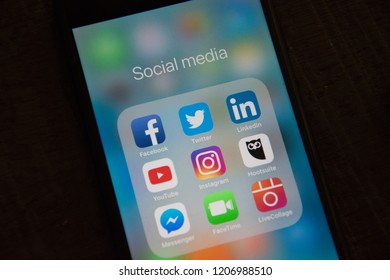 GRONINGEN, NETHERLANDS, OCTOBER 7, 2018: Close up of a black iPhone 7 with social media applications