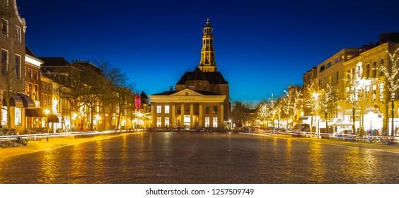 Groningen, The Netherlands-12-12-2018 : nice view on the korenbeurs and the A-kerk from the vismarkt in Groningen