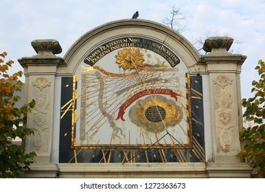 Groningen. October-22-2012. Sundial in the garden of the Princeshof from 1737 in the city of Groningen