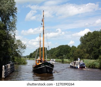 Groningen.July-07-2012. Boats sails on the river Reitdiep at the city of Groningen. The Netherlands