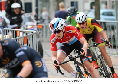 Groningen/The Netherlands-April 8 2018: Christine Majerus, rider in the Boels Dolmans Team, rides the last race  in the Healthy Aging Tour 2018 in Groningen