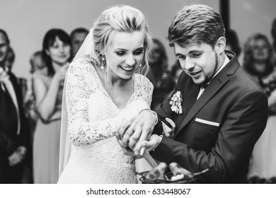 Groom and bride hold knife tightly cutting wedding cake