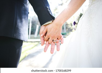 groom and bride holding hands. detail.