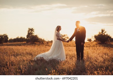 The groom and bride on a walk outdoors