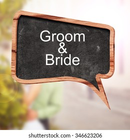 Groom and Bride word concept on speech bubbles from wood on white background