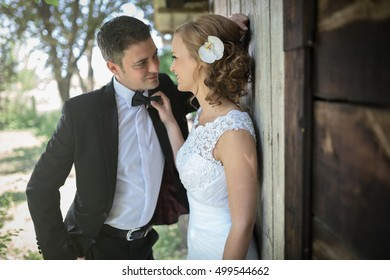 Groom embracing beautiful bride outdoors