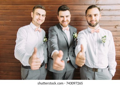 groom with friends.