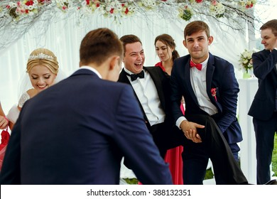 Groom with his friends on the wedding ceremony