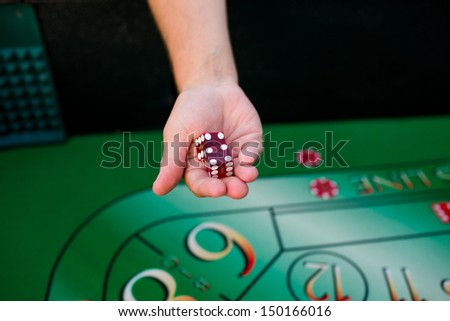 Groom Holds Dice Above Craps Table Stock Photo Edit Now 150166016