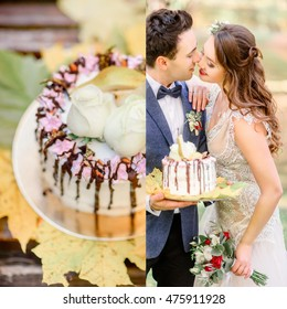 Groom holds tasty wedding cake while bride reaches his face for a kiss