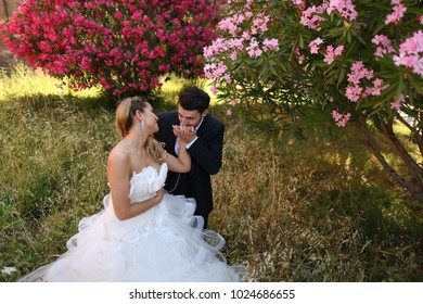 Groom kissing brides hand in park