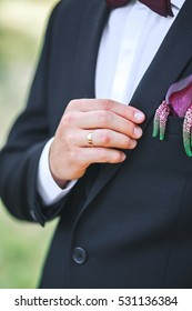 Groom on his wedding day.Gorgeous smiling groom at wedding tuxedo smiling and waiting for bride.Elegant man in black costume and bow-tie. Groom in a suit holding buttonhole.