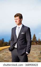 Groom portrait in Central Oregon on his wedding day.