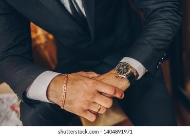 groom preparation for beautiful wedding,men's watch,beautiful arm