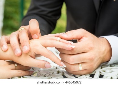 Groom putting a wedding ring on bride's finger in outside