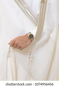 The groom of a Saudi man, in the traditional wedding dress Jeddah April 2018