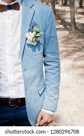 Groom in a suit with a bow tie and a boutonniere. Flower design, floristry. Wedding day and accessories