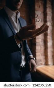 Groom throws up wedding rings