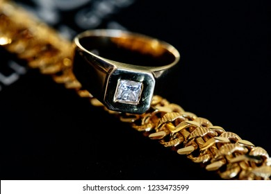 Groom wedding ring and jewelry