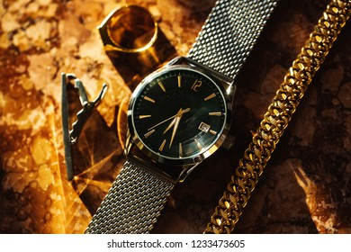 Groom wedding watch and jewelry accessories