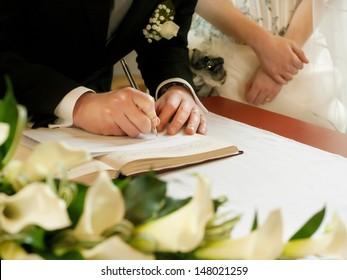 groom  write on registration of marriage