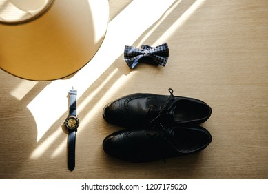 Groom's set with shoes watch bow tie