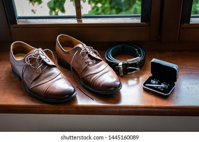 Grooms shoes with belt and cufflinks