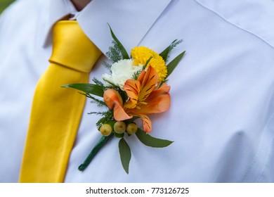 Groomsmen Boutonniere and Tie