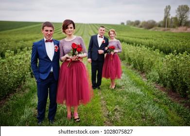 Groomsmen and bridesmaids having fun and posing in blacckcurrant field.