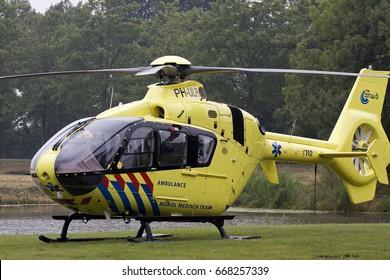 GROOTEBROEK, THE NETHERLANDS - JUNI 28,2017 : Dutch ambulance helicopter (trauma helicopter) Just landed for assistance  on juni 28 , 2017 in Grootebroek, Holland