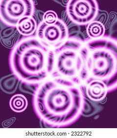 Groovy Purple Cricles on textured background.