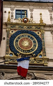 Gros Horloge - astronomical clock located in Gros Horloge street. Clock mechanism is one of oldest in France, movement was made in 1389. Rouen, France.