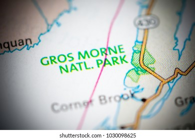 Gros Morne National Park. Canada on a map.