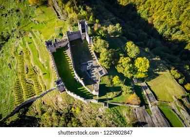 Grosio - Valtellina (IT) - Castello Nuovo - Rock Engravings Park - aerial view