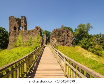 Grosmont Castle  a ruined castle in the village of Grosmont, Abergavenny Monmouthshire, Wales a view from the front entrance bridge